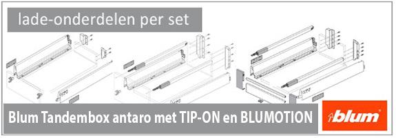 Lade-onderdelen Blum tandembox antaro met tip-on en blumotion